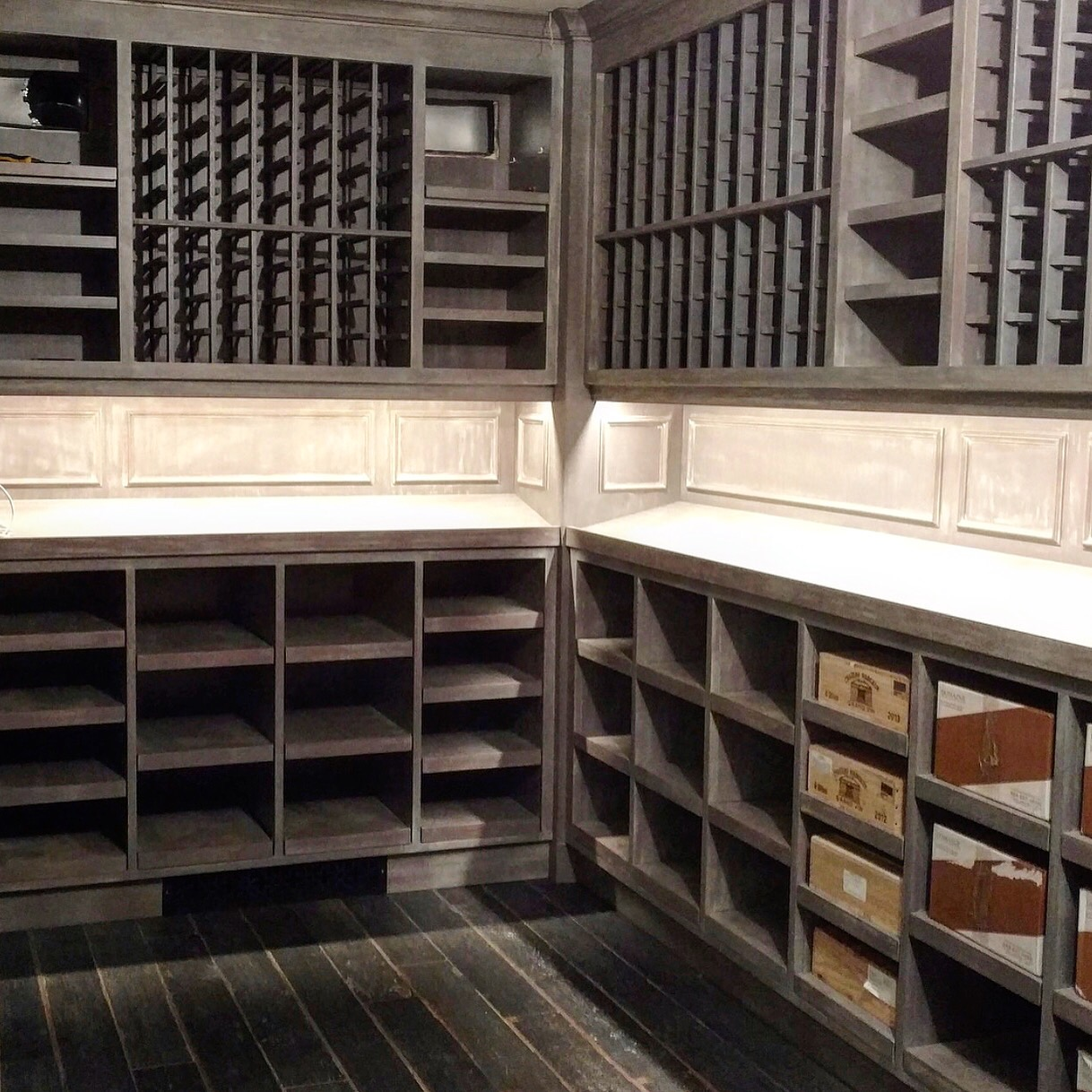Wine Room - Grey Finish with a White Wash in Monecito, California