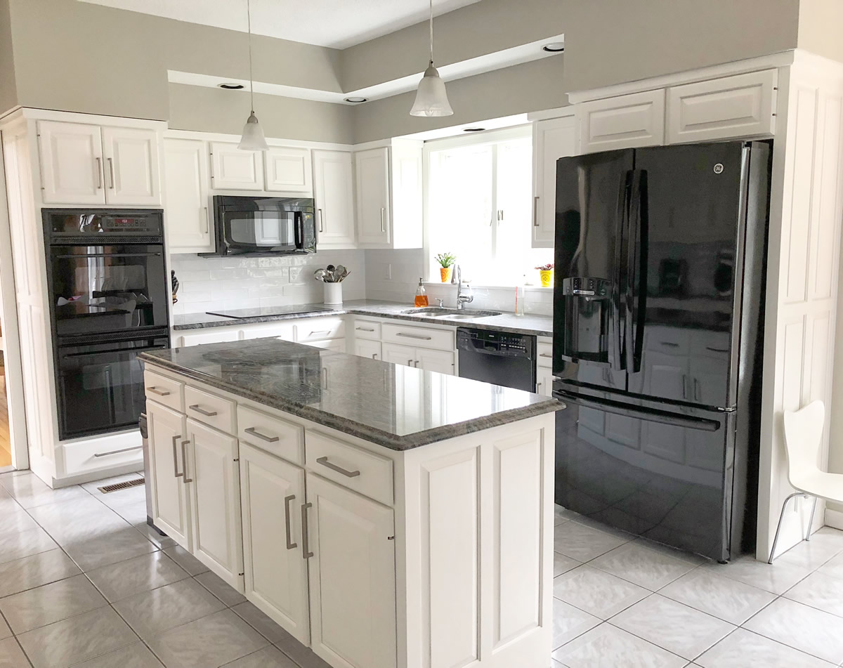 After: Custom White Dove Kitchen Finish, Southington, CT