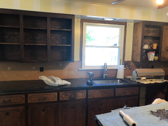 Before: Old Brown Walnut Cabinets